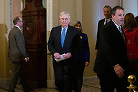 United States Senate Majority Leader Mitch McConnell (Republican of Kentucky) arrives to a news conference following Republican policy luncheons at the United States Capitol in Washington D.C., U.S. on Tuesday, February 11, 2020.  <br /> <br /> Credit: Stefani Reynolds / CNP/AdMedia