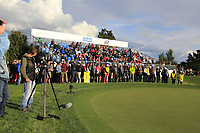 Spectators at the 18th green during Round 4 of the D+D Real Czech Masters at the Albatross Golf Resort, Prague, Czech Rep. 03/09/2017<br /> Picture: Golffile | Thos Caffrey<br /> <br /> <br /> All photo usage must carry mandatory copyright credit     (&copy; Golffile | Thos Caffrey)