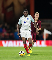 Fikayo Tomori (Hull City (on loan from Chelsea) of England U21 moves from Andrejs Ciganiks (Schalke 04 Gelsenkirchen II) of Latvia U21 during the UEFA EURO U-21 First qualifying round International match between England 21 and Latvia U21 at the Goldsands Stadium, Bournemouth, England on 5 September 2017. Photo by Andy Rowland.