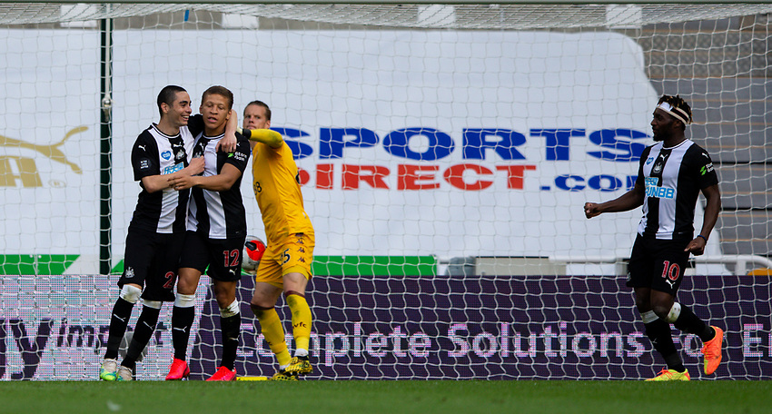 Newcastle United's Dwight Gayle celebrates scoring the opening goal with Miguel Almiron<br /> <br /> Photographer Alex Dodd/CameraSport<br /> <br /> The Premier League - Newcastle United v Aston Villa - Wednesday 24th June 2020 - St James' Park - Newcastle <br /> <br /> World Copyright © 2020 CameraSport. All rights reserved. 43 Linden Ave. Countesthorpe. Leicester. England. LE8 5PG - Tel: +44 (0) 116 277 4147 - admin@camerasport.com - www.camerasport.com
