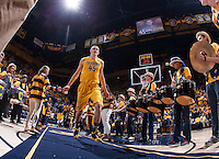 David Kravish of California walks on the court before the game against Arizona at Haas Pavilion in Berkeley, California on February 1st, 2014.  California Golden Bears defeated Arizona Wildcats, 60-58.