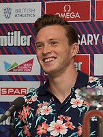 Karsten Warholm (Norway) – 400m hurdles - World champion & European record  holderduring the Muller Anniversary Games 2019 pre-event media day at the Leonardo Royal Hotel, Prescod Street, England on 19 July 2019. Photo by Alan  Stanford.