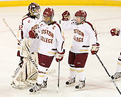 Megan Miller (BC - 32), Blake Bolden (BC - 10), Kate Leary (BC - 28) - The Boston College Eagles tied the visiting Boston University Terriers 5-5 on Saturday, November 3, 2012, at Kelley Rink in Conte Forum in Chestnut Hill, Massachusetts.