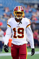August 9, 2018: Washington Redskins wide receiver Robert Davis (19) warms up prior to the NFL pre-season football game between the Washington Redskins and the New England Patriots at Gillette Stadium, in Foxborough, Massachusetts.The Patriots defeat the Redskins 26-17. Eric Canha/CSM