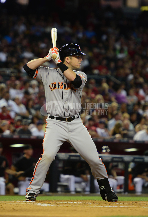 May 12, 2012; Phoenix, AZ, USA; San Francisco Giants catcher Buster Posey during game against the Arizona Diamondbacks at Chase Field. Mandatory Credit: Mark J. Rebilas-