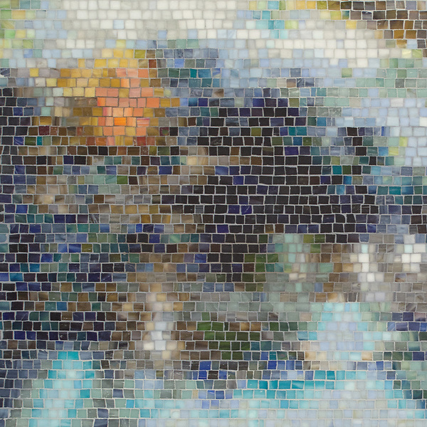 Black Pool, a hand-cut mosaic, shown in multiple shades of jewel glass with a Sea Glass™ finish, is based on an oil painting by Gail Miller. This design is part of the Broad Street™ collection by New Ravenna.