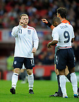 Wayne Rooney protests of referee Kyros Vassaras from Greece during the Friendly International match at Wembley Stadium, London. Picture date 28th May 2008. Picture credit should read: Simon Bellis/Sportimage
