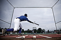 25 july 2010: Omar Williams is seen in the batting cage prior to France 6-1 victory over Czech Republic, in day 3 of the 2010 European Championship Seniors, in Neuenburg, Germany.