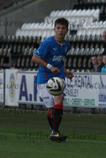 Charlie Telfer in the St Mirren v Rangers Scottish Professional Football League Under 20 match played at St Mirren Park, Paisley on 10.9.13.