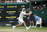 Kei Nishikori (JPN) during his match against Roger Federer (SUI) in their Gentleman's Singles Quarter Final match<br /> <br /> <br /> Photographer Rob Newell/CameraSport<br /> <br /> Wimbledon Lawn Tennis Championships - Day 9 - Wednesday 10th July 2019 -  All England Lawn Tennis and Croquet Club - Wimbledon - London - England<br /> <br /> World Copyright © 2019 CameraSport. All rights reserved. 43 Linden Ave. Countesthorpe. Leicester. England. LE8 5PG - Tel: +44 (0) 116 277 4147 - admin@camerasport.com - www.camerasport.com