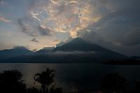 Sunset over Volcan San Pedro at Lake Atitlán, Guatemala.
