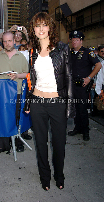 Keira Knightley making an appearance on 'Letterman Show.' New York, June 29, 2004. Please byline: AJ SOKALNER/ACE Pictures.   .. *** ***..All Celebrity Entertainment, Inc:  ..contact: Alecsey Boldeskul (646) 267-6913 ..Philip Vaughan (646) 769-0430..e-mail: info@nyphotopress.com