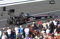 Feb 13, 2016; Pomona, CA, USA; NHRA top fuel driver Morgan Lucas during qualifying for the Winternationals at Auto Club Raceway at Pomona. Mandatory Credit: Mark J. Rebilas-USA TODAY Sports