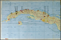 BNPS.co.uk (01202) 558833Pic: RRAuction/BNPS<br /> <br /> The map is in two parts and clearly marked with up-to-the-minute intelligence..<br /> <br /> Crisis?...What Crisis? - JFK's pesonal map of Cuba sells for a whopping &pound;100,000.<br /> <br /> The historic map that JFK used to plot his way through the darkest hours of the Cuban Missile Crisis of 1962 has sold for over 6 times its estimate.<br /> <br /> JFK pored over the map on 27th of October that year, the day the world held its breath as the Superpowers almost spiralled into nuclear war over Castro's Cuba.<br /> <br /> US President John F Kennedy used the map to examine the locations of all the Soviet missiles and aircraft in Cuba, and decide whether or not to launch an air strike as tensions between the countries reached a climax.<br /> <br /> The president referred to the map as the 'victory map' after he avoided all-out war and struck a deal that brought the crisis to an end the following day.<br /> <br /> The hammer came down at $138,798 in Boston yesterday - approximatly &pound;97,000.