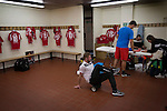 Connah's Quay Nomads 1 Llandudno 1, 20/09/2016. Deeside Stadium, Welsh Premier League. Backroom staff in the home dressing room at the Deeside Stadium before Connah's Quay Nomads played Llandudno in a Welsh Premier League match. Both clubs represented Wales in the 2016-17 Europa League, the first time either had competed in European competition. The match ended in a 1-1 draw, watched by 181 spectators. Photo by Colin McPherson.