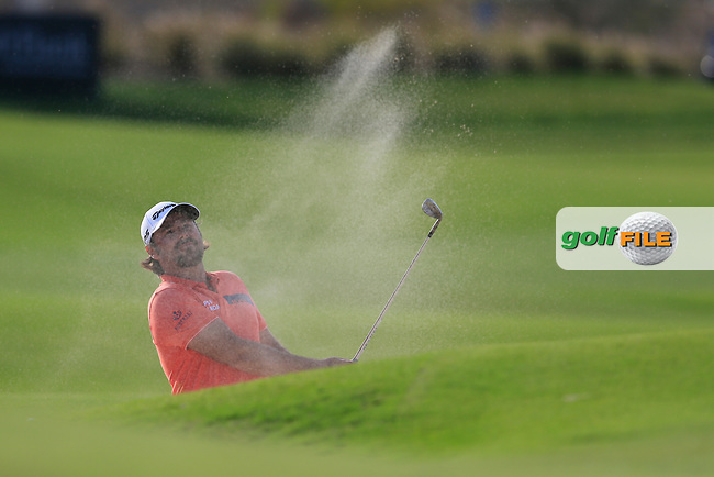Victor Dubuisson (FRA) on the 18th during the final round of  the Saudi International powered by Softbank Investment Advisers, Royal Greens G&CC, King Abdullah Economic City,  Saudi Arabia. 02/02/2020<br /> Picture: Golffile | Fran Caffrey<br /> <br /> <br /> All photo usage must carry mandatory copyright credit (© Golffile | Fran Caffrey)