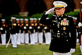 Joint Chiefs of Staff Vice Chairman United States Marine General James E. Cartwright salutes during the playing of the national anthem during a farewell ceremony in his honor at the U.S. Marine Corps Barracks, Washington, D.C., August 3, 2011. Cartwright is a target of a U.S. Justice Department investigation into a leak of information about a covert U.S.-Israeli cyberattack on Iran's nuclear program. <br /> Mandatory Credit: Jacob N. Bailey / DoD via CNP