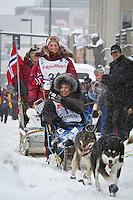 Sigrid Ekran leaves the 2011 Iditarod ceremonial start line in downtown Anchorage, during the 2012 Iditarod..Jim R. Kohl/Iditarodphotos.com