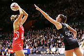 13th September 2017, Hamilton, New Zealand;  New Zealand defender Kelly Jury looks to block a shot from England shooter Jo Harten during the Taini Jamison Trophy international netball match - Silver Ferns versus  England played at Claudelands Arena, Hamilton, New Zealand on Wednesday 13 September 2017