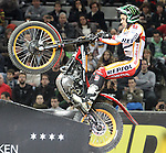 10.02.2013. Barcelona, Spain. FIM X Trial World Championship. Picture show Toni Bou riding Montesa in action during GP of Catalunya at Palau St. Jordi