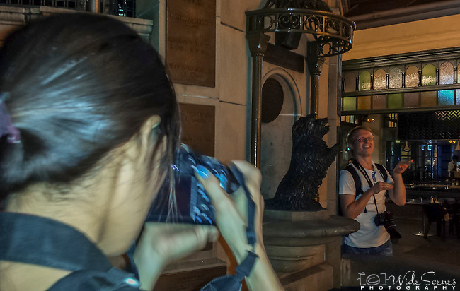 Photo walk attendees at fountain in front of QVB building in Sydney during the 2016 Chinese New Year Celebrations in Sydney, Lunar Lanterns Festival across the city cbd. Year of the Monkey, Sydney, NSW, Australia