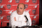 MADISON, WI - NOVEMBER 12: Head coach Barry Alvarez of the Wisconsin Badgers addresses the media at the post-game press confernce after the game against the Iowa Hawkeyes at Camp Randall Stadium on November 12, 2005 in Madison, Wisconsin. The Hawkeyes beat the Badgers 20-10. (Photo by David Stluka)