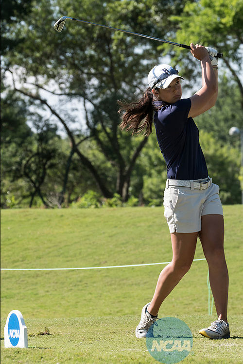 HOUSTON, TX - MAY 12: Sydney Weaver of Berry College tees off during the Division III Women's Golf Championship held at Bay Oaks Country Club on May 12, 2017 in Houston, Texas. (Photo by Rudy Gonzalez/NCAA Photos/NCAA Photos via Getty Images)