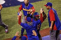 Odubel Herrera de Venezuela celebra la carrera del empate en el sexto inning  , durante el partido de desempate Italia vs Venezuela, World Baseball Classic en estadio Charros de Jalisco en Guadalajara, Mexico. Marzo 13, 2017. (Photo: AP/Luis Gutierrez)