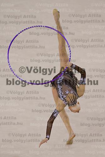 Hanna Rabtsava (BLR) performs with the hoop during the final of the 2nd Garantiqa Rythmic Gymnastics World Cup held in Debrecen, Hungary. Sunday, 07. March 2010. ATTILA VOLGYI