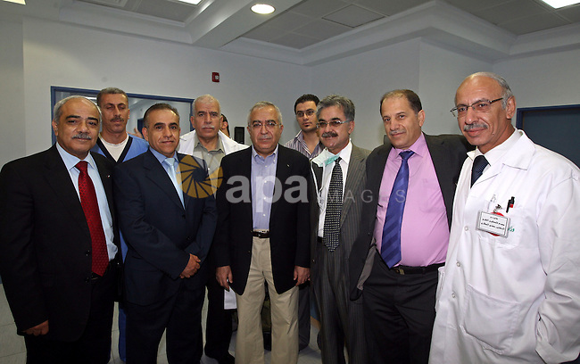 Palestinian Prime Minister Salam Fayyad visits the kidney patients at Palestine Medical Compound in the West Bank city of Ramallah on August 7,2010 . Photo by Mustafa Abu Dayeh / Pool
