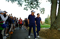 Ian Poulter (Team Europe) and Rory McIlroy (Team Europe) during the friday foursomes at the Ryder Cup, Le Golf National, Ile-de-France, France. 28/09/2018.<br /> Picture Fran Caffrey / Golffile.ie<br /> <br /> All photo usage must carry mandatory copyright credit (&copy; Golffile | Fran Caffrey)