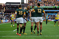JP Pietersen of South Africa celebrates scoring a try during Match 15 of the Rugby World Cup 2015 between South Africa and Samoa - 26/09/2015 - Villa Park, Birmingham<br /> Mandatory Credit: Rob Munro/Stewart Communications