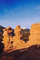 Siamese Twins Rock formation and Pikes Peak, Garden of The Gods National Landmark, Colorado Springs, Colorado, USA, February 2006