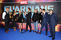 Dave Bautista (left), Zoe Saldana, Pom Klementieff, Chris Pratt, Kurt Russell, Karen Gillan, director James Gunn &amp; Michael Rooker at the European premiere for &quot;Guardians of the Galaxy Vol.2&quot; at the Hammersmith Apollo, London, UK. <br /> 24 April  2017<br /> Picture: Steve Vas/Featureflash/SilverHub 0208 004 5359 sales@silverhubmedia.com