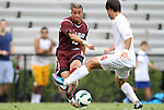 02 September 2012: Santa Clara's Erik Hurtado (left) is defended by NC State's Danny DiPrima (14). The North Carolina State University Wolfpack defeated the Santa Clara University Broncos 2-1 at Koskinen Stadium in Durham, North Carolina in a 2012 NCAA Division I Men's Soccer game.