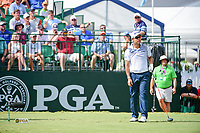 Hideki Matsuyama (JPN) watches his tee shot on 10 during Sunday's final round of the PGA Championship at the Quail Hollow Club in Charlotte, North Carolina. 8/13/2017.<br /> Picture: Golffile | Ken Murray<br /> <br /> <br /> All photo usage must carry mandatory copyright credit (&copy; Golffile | Ken Murray)