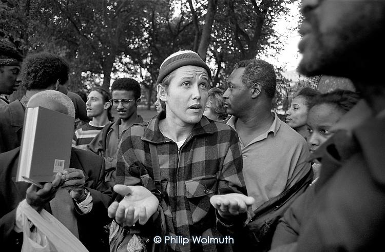 Argument and debate at Speakers Corner, Hyde Park, London