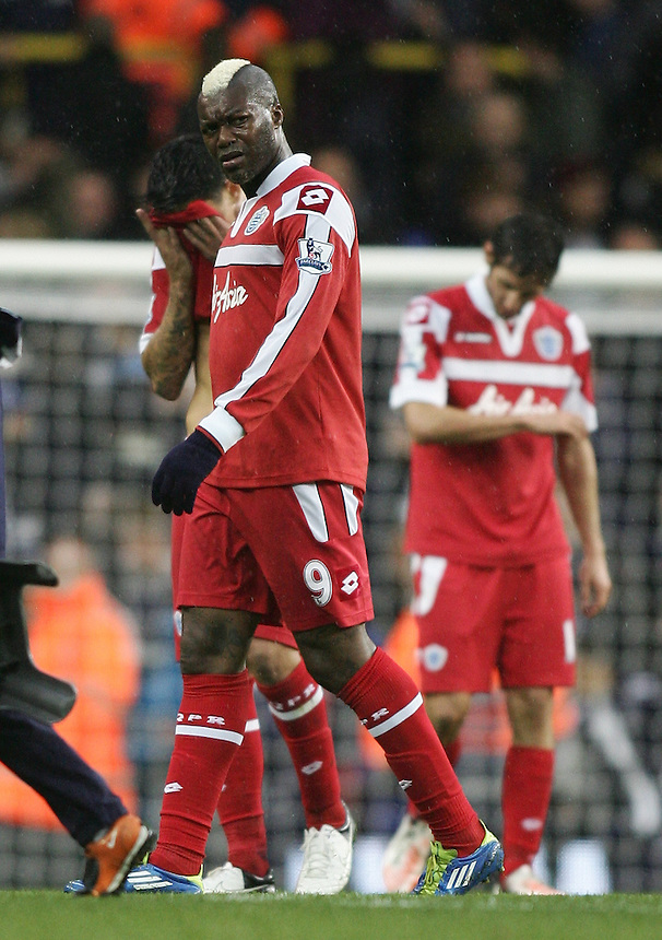 Queens Park Rangers' Djibril Cisse looks dejected after the final whistle..Football - Barclays Premiership - Tottenham Hotspur v Queens Park Rangers - Sunday 23rd September 2012 - White Hart Lane - London..