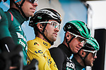 Race leader Yellow Jersey Maximilian Schachmann (GER) and Bora-Hansgrohe at sign on before Stage 3 of the 78th edition of Paris-Nice 2020, running 212.5km from Chalette-sur-Loing to La Chatre, France. 10th March 2020.<br /> Picture: ASO/Fabien Boukla | Cyclefile<br /> All photos usage must carry mandatory copyright credit (© Cyclefile | ASO/Fabien Boukla)