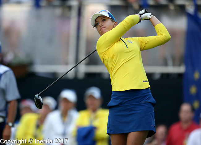 DES MOINES, IA - AUGUST 19: Europe's Jodi Ewart Shadoff tees off on the first hole during Saturday morning's foursomes match at the 2017 Solheim Cup in Des Moines, IA. (Photo by Dave Eggen/Inertia)