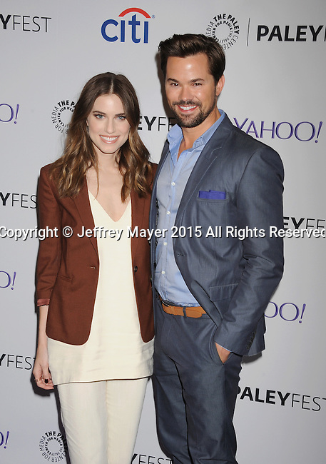 HOLLYWOOD, CA - MARCH 08: Actress Allison Williams (L) and Andrew Rannells attend The Paley Center For Media's 32nd Annual PALEYFEST LA - 'Girls' at Dolby Theatre on March 8, 2015 in Hollywood, California.