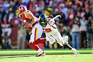 Landover, MD - November 4, 2018: Washington Redskins tight end Jordan Reed (86) is tackled by Atlanta Falcons outside linebacker De'Vondre Campbell (59) after a reception during game between the Atlanta Falcons and the Washington Redskins at FedEx Field in Landover, MD. The Falcons defeated the Redskins 38-13. (Photo by Phillip Peters/Media Images International)