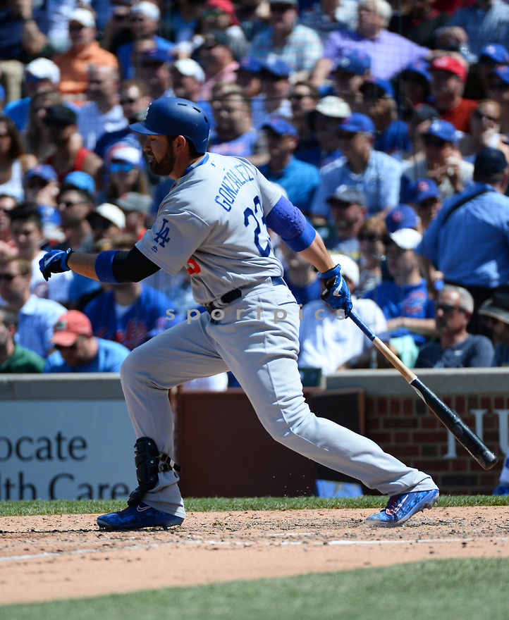 Los Angeles Dodgers Adrian Gonzalez (23) during a game against the Chicago Cubs on June 2, 2016 at Wrigley Field in Chicago, IL. The Cubs beat the Dodgers 7-2.