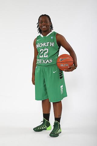 DENTON, TX - OCTOBER 2: North Texas women's basketball marketing photo of BreAnna Dawkins #22 at he North Texas Coliseum in Denton on October 2, 2013 in Denton, Texas. Photo by Rick Yeatts