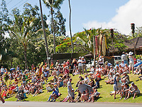 Community gathers around Kamehameha stature, King Kamehameha Day Parade, North Kohala, Kapa'au town.