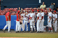 Illinois State Redbirds Jared Hendren (19) high fives teammates during a game against the Bowling Green Falcons on March 11, 2015 at Chain of Lakes Stadium in Winter Haven, Florida.  Illinois State defeated Bowling Green 8-7.  (Mike Janes/Four Seam Images)