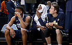 SIOUX FALLS, SD - MARCH 5:  Players on the Oral Roberts bench checking the scoreboard in the 2016 Summit League Tournament. (Photo by Dave Eggen/Inertia)