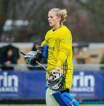 AMSTELVEEN -  Kiki Gunneman (Pin)    tijdens de hoofdklasse competitiewedstrijd dames, Pinoke-Amsterdam (3-4). COPYRIGHT KOEN SUYK