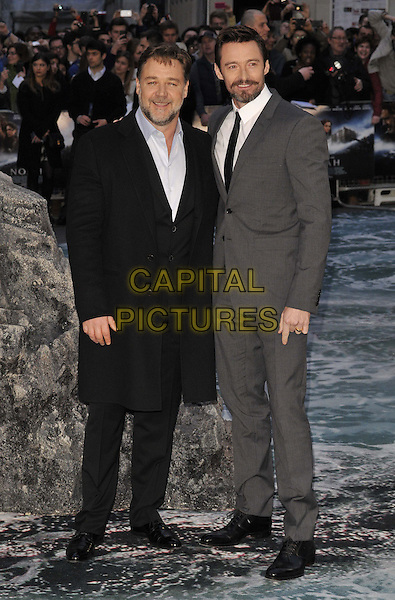 LONDON, ENGLAND - MARCH 31: Russell Crowe &amp; Hugh Jackman attend the &quot;Noah&quot; UK film premiere, Odeon Leicester Square cinema, Leicester Square, on Monday March 31, 2014 in London, England, UK.<br /> CAP/CAN<br /> &copy;Can Nguyen/Capital Pictures