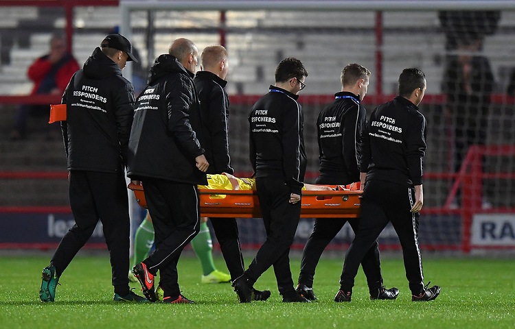 Fleetwood Town's Wes Burns is stretchered off<br /> <br /> Photographer Dave Howarth/CameraSport<br /> <br /> EFL Leasing.com Trophy - Northern Section - Group B - Tuesday 3rd September 2019 - Accrington Stanley v Fleetwood Town - Crown Ground - Accrington<br />  <br /> World Copyright © 2019 CameraSport. All rights reserved. 43 Linden Ave. Countesthorpe. Leicester. England. LE8 5PG - Tel: +44 (0) 116 277 4147 - admin@camerasport.com - www.camerasport.com